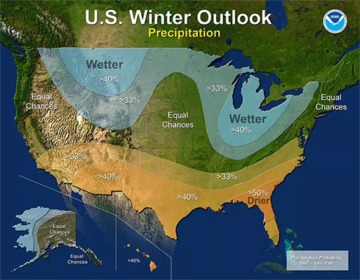 U.S Winter Outlook Map for 2018